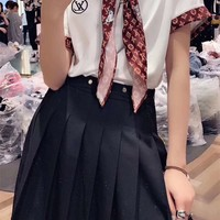 """Louis Vuitton"" Women Casual Fashion Letter Young A Pleated Skirt Short Sleeve Shorts Set Three-Piece Clothes"