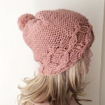"Hand Knitted Hat, Slouchy Dust Pink Hat, Beanie with Pompom,Boho ""Chunky "", Winter Fashion, Winter Accesories"