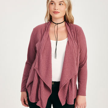 Plus Size Draped Ribbed Knit Cardigan | Wet Seal Plus