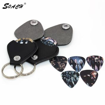 SOACH Hot 1 piece guitar picks case box coin purse Black Faux Leather Key Chain Guitar Picks Holder Plectrums Bag Case Key ring