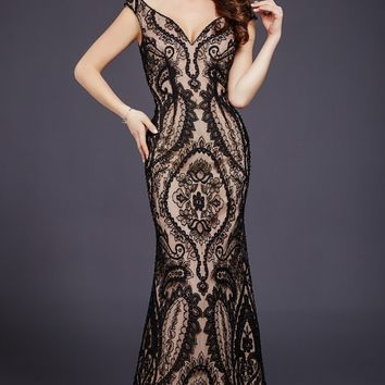 Black Nude Lace Floor Length Dress 33937