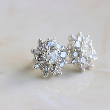 Bridal Earrings Cushion CZ Rhinestone Stilver Stud IE1Post