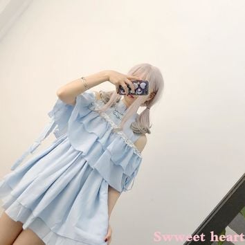 Japanese Kawaii Lolita Cosplay Female Dress Chinese Vintage Off Shoulder Sexy Flounce Dresses Soft Sister Fashion Bandage Dress