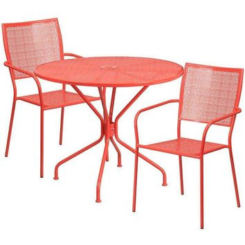 35.25'' Round Indoor-Outdoor Steel Patio Table Set with 2 Square Back Chairs