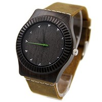 Natural Black Sandalwood Wooden Watch Fashion Sandalwoo Wood Watch Brown Leather Strap Watches