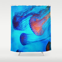 Watch the Flow of the Jelly Glow Shower Curtain by Distortion Art