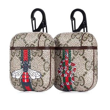GUCCI Newest Popular Chic Stripe Bee Snake Pattern iPhone AirPods Bluetooth Wireless Earphone Protector Protective Case(No Headphones)