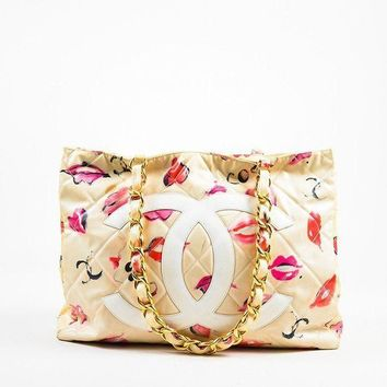 Chanel Retro Women Cream Quilted Lip Print Big Logo Print Metal Leather Chain Shoulder Bag Handbag I
