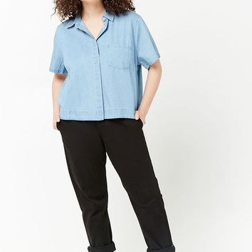 Plus Size Chambray High-Low Shirt