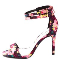 Qupid Floral Fabric Single Strap Heels by Charlotte Russe - Fuchsia