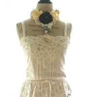 Rustic white farm girl tank top,battenburg lace camisole, womens clothing, cottage chic, country, beach, vintage style