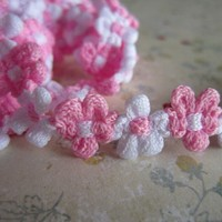 Pink and White Flower Trim Ribbon for DIY Craft Supplies