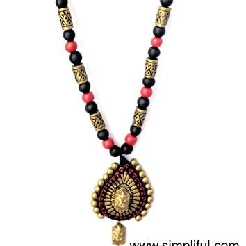 Terracotta Ganesha in Leaf Pendant Necklace with Jhumka Earring