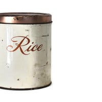 Vintage Cottage Chic Rice Canister Home Decor