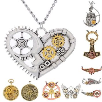 Necklace Steampunk Vintage Statement Necklace Woman Love Hearts Key Angle Owl Pendant Necklace Bijoux Femme Kolye Collares