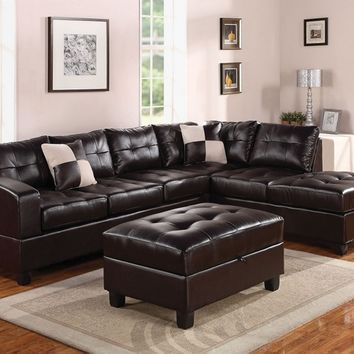 Acme 51195 2 pc kiva collection espresso bonded leather match upholstered reversible sectional sofa