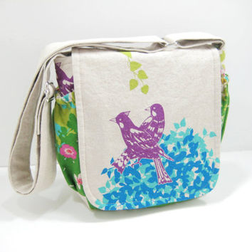 Bird Messenger Bag, Small Messenger Bag, Cross Body Satchel, Echino Japanese Fabric Bird Print, Ready to Ship