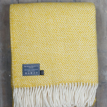 Lifestyle New Wool Blanket in Yellow Beehive