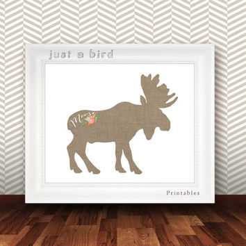 Burlap moose print, moose home decor, burlap nursery decor, burlap wall art, canada art, deer art print, canadian moose - INSTANT DOWNLOAD