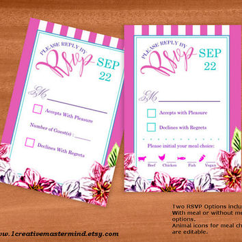 DIY Wedding Template rsvp response card, Instant Download, Editable PDF, Printable, Digital, Floral with Pink and White Stripes #1CM80-1