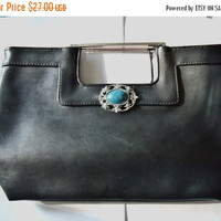 Black Clutch Dorothy Perkins Restyled Assemblage Purse Turquioise Silver Tone Pendant Everyday Gift for Her Christmas