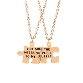 "2pcs / set BFF Puzzle ""You Are The Missing Piece To My Puzzle"" Couple Necklace Best Friend Forever"