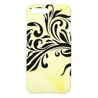 Black Flower Decorative Swirls on Gold background iPhone 7 Plus Case