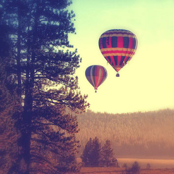 Nature photography, landscape photo, trees mountains, hot air balloons, foggy, fantasy, square photo, vivarte
