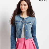 Aeropostale  Frayed Cropped Denim Jacket