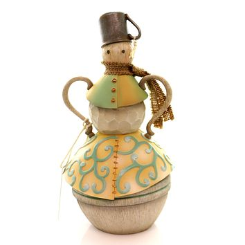 Jim Shore SNOWMAN WITH TIN CUP FIGURINE Polyresin River's End Christmas 4048056