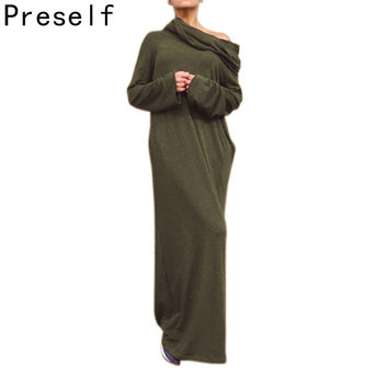 Preself Autumn Winter Women's Knit Casual long Sleeves Off-Shoulder Wrap Dress Party Plus Size Maxi Hooded Dresses Vestidos