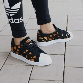 Adidas Originals Superstar Black/Gold Women Casual Sport Shoes Sneakers