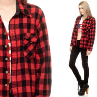 Buffalo Plaid shirt 90s FLANNEL Grunge Red Long Sleeve Button Up Black 1990s Lumberjack Vintage Hipster Checkered Extra Small XS