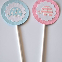 12 Elephant Cupcake Toppers in Pink or Blue or a Mixture for a Baby Shower or Birthday Party