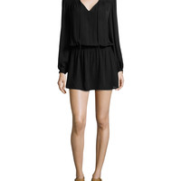 Cinched-Waist Silk Mini Dress, Black, Size: