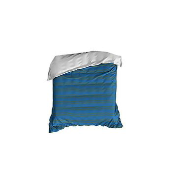 Steel Blue and Olive Striped Crib Comforter