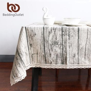 BeddingOutlet Vintage Wood Grain Table Cloth Simulation Patterned Rustic Tablecloth Rectangle Table Cover Washable Decoration