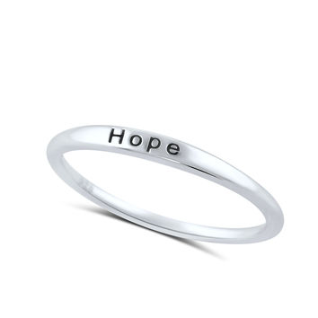 Sterling Silver Thin Stackable Hope Ring