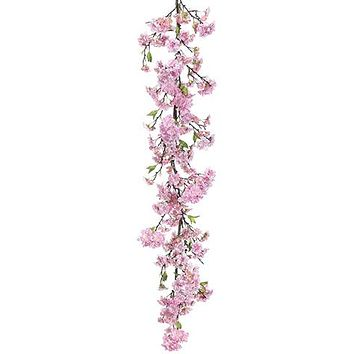 Artificial Pink Cherry Blossom Flower Garland - 4' Long
