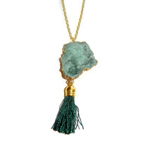 Light Green Druzy with Dark Green Tassel Necklace, 22 Inch Gold Chain