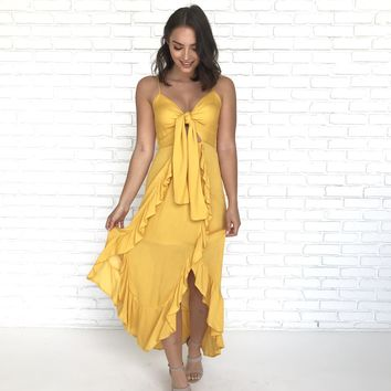 When In Rome Maxi Dress in Mustard