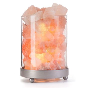 Himalayan Salt Lamp in Clear Glass Holder