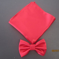Men red satin bow tie, Red pocket square, Red pocket square match set bow tie. Shiny red satin bow tie, pocket square match set red bow tie