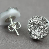 Fake Plugs, Druzy Stone Stud Earrings : Silver, Dark Grey, Sterling Silver Posts, Crackle, Artisan Tree, 12mm, Sparkle, Glitter