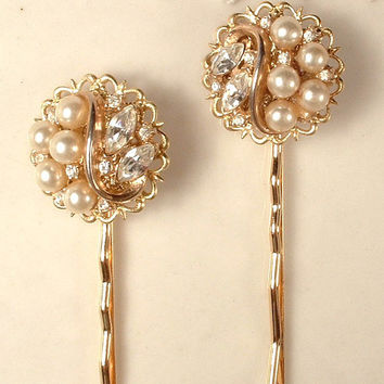 TRuE Vintage Trifari Ivory Pearl & Clear Rhinestone Gold Leaf Bridal Hair Pins, Heirloom One of a Kind Gold Jeweled Bobby Pins Set of 2