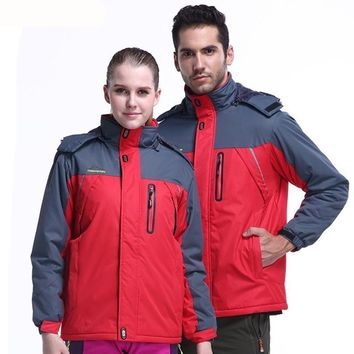 Winter Outdoor Sports Jacket For Men Women Waterproof Thermal Fleece Camping Hiking Skiing Clothing Coat Plus Size 9XL