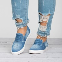 Distressed Denim Sneakers - Blue
