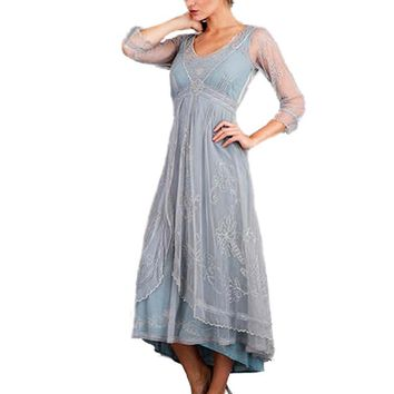 Edwardian Inspired Dusty Blue Embroidered Tulle Dress