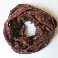 brown peace infinity scarf, scarf, scarves, long scarf, loop scarf, gift