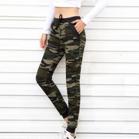 2017 New arrival Women sweatpant Camouflage Jogger Pant  Harem Loose Long Pant With pocket Drawstring American Original 5020